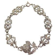 "Sterling Silver Marcasite Rose Flower Bracelet ~ 7"""