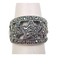 Vintage Sterling Silver Marcasite Star Ring