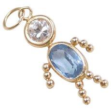 March Birthstone Baby Boy Charm 14k Gold Faux Aquamarine and Faux Diamond