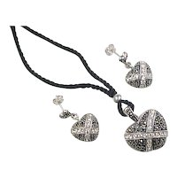 Vintage Sterling Silver Marcasite and Faux Diamond Heart Set ~ Earrings and Locket Necklace