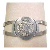 Vintage Mayan Calendar Cuff Bracelet Sterling Silver