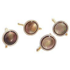 Men's Cufflinks / Button Studs 14k Yellow and White Gold with Brown Mother of Pearl