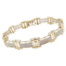 "8 1/2"" 10k Gold Men's 1.92 ctw Diamond Bracelet Two-Tone"