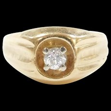 Vintage 14k Gold Gents .33 Carat Diamond Ring