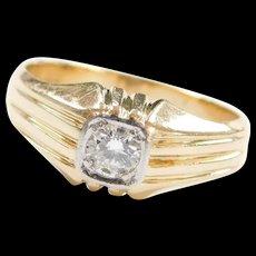 Vintage 14k & 18k Gold Two-Tone Men's .35 Carat Diamond Ring