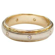 14k Gold Men's Two-Tone Diamond Wedding Band Ring