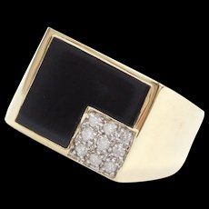 Vintage 14k Gold Men's Onyx and .14 ctw Diamond Ring  ~ Two-Tone