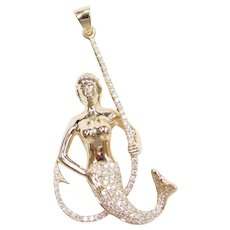 .61 ctw Diamond Mermaid Pendant on Fish Hook 14k Gold