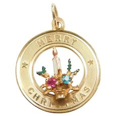 14k Gold Merry Christmas Charm with Enamel Candle Wreath and Gemstone Accents