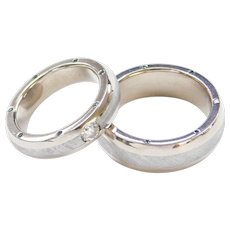 Gibeon Meteorite Matching Wedding Band Rings 18k White Gold ~ Sizes 7 & 9 1/2 ~ Men's and Ladies ~ .53 ctw White and Blue Diamonds