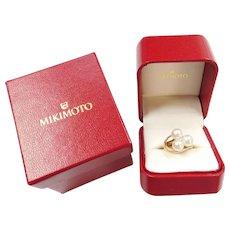 MIKIMOTO Cultured Pearl Ring 14k Gold, Luxury Designer
