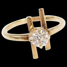Vintage 14k Gold .55 Carat Modernist Diamond Ring