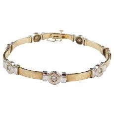 "Vintage 10k Gold 1.12 ctw Moissanite Bracelet ~ Two-Tone ~ 7"""