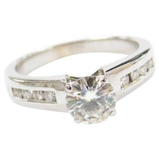 Vintage 14k White Gold 1.29 ctw Moissanite Engagement Ring
