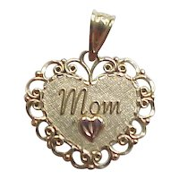 Vintage 14k Heart Mom Charm or Pendant