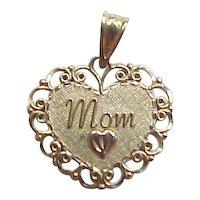 Vintage 14k Heart Mom Charm or Pendant