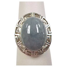 Vintage Sterling Silver Moss Agate Greek Key Design Ring