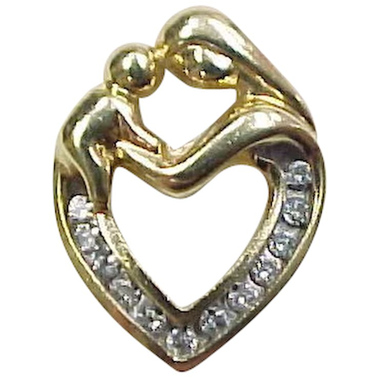 Vintage 14k gold mother and child diamond heart pendant arnold vintage 14k gold mother and child diamond heart pendant mozeypictures Images
