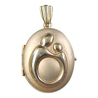 Vintage 14k Gold Mother and Child Locket Pendant