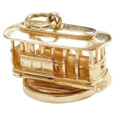 14k Gold San Francisco Moving Trolley Cable Car Charm
