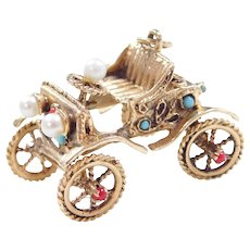 Moving 14k Gold Jeweled Car / Carriage Charm