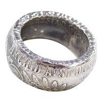 1780 X M Theresia D G Burg Co Tyr X Arcid Avst Dux-.833 Silver Coin Ring