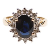 Sapphire and Diamond 2.97 ctw Halo Ring 14k Yellow and White Gold Two-Tone
