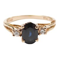 Sapphire and Diamond 1.24 ctw Three Stone Ring 10k Yellow Gold