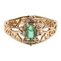 Emerald and Diamond .33 ctw Halo Filigree Ring 14k Yellow Gold