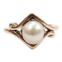 Edwardian Pearl Solitaire Ring 10k Yellow Gold