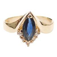 Sapphire and Diamond .78 ctw Chevron Fashion Ring 14k Yellow Gold
