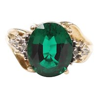 Lab Created Emerald and Diamond Ring 10k Yellow and White Gold Two-Tone