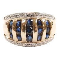 Sapphire and Diamond .77 ctw Wide Band Ring 14k Yellow and White Gold Two-Tone