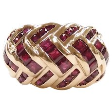 Ruby 3.10 ctw Domed Braided Crisscross Ring 14k Yellow Gold