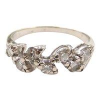Vintage Diamond .45 ctw Leaf / Vine Band Ring 14k White Gold