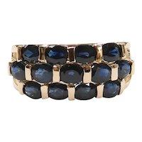 Sapphire 3.25 ctw Three Row Band Ring 14k Yellow Gold