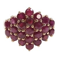 Natural Ruby 3.68 ctw Cluster Ring 14k Yellow Gold