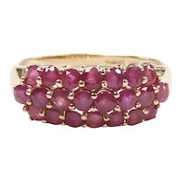 Ruby 1.84 ctw Three Row Band Ring 14k Yellow Gold