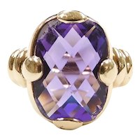 Amethyst 4.75 ctw Solitaire Ring 14k Yellow Gold