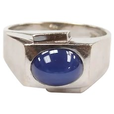 Gents Vintage Linde Star Sapphire 2.61 Carat Solitaire Ring 14k White Gold ~ Men's