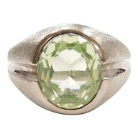 Gents Vintage Bright Green Spinel 4.75 Carat Solitaire Ring 10k White Gold