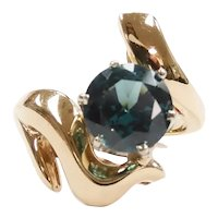 Teal Spinel 2.00 Carat Modernist Ring 14k Yellow and White Gold Two-Tone