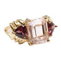 Pink Morganite and Rubellite Tourmaline 2.94 ctw Three Stone Ring 14k Yellow Gold