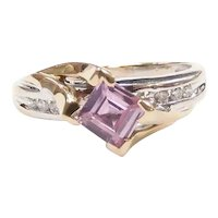 Pink Sapphire and Diamond .89 ctw Ring 10k Yellow and White Gold Two-Tone