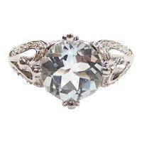 Aquamarine and Diamond 1.91 ctw Ring 14k White Gold
