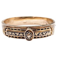 Victorian Taille d'Epargne Hinged Bangle Bracelet 14k Yellow Gold
