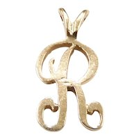 Letter / Initial R Charm Pendant 14k Yellow Gold