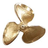 Nautical Boat Propeller Charm Pendant 14k Yellow Gold