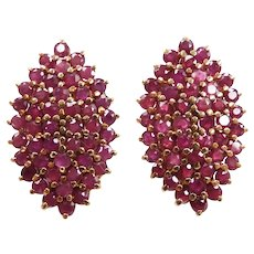Large Ruby 6.72 ctw Navette Cluster Stud Earrings 10k Yellow Gold