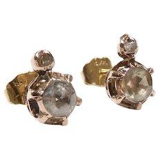Antique Victorian Diamond .68 ctw Stud Earrings 14k Rose Gold
